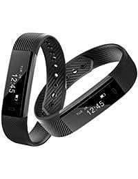 Reloj Inteligente Xinan Reloj inteligente Bluetooth Pulsera pulsera Podómetro Sport Fitness Tracker ID115 (❤️Negro)