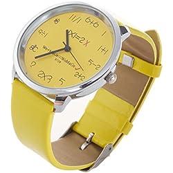 WoMaGe Mathematik Zifferblatt Damen Quarz Mode Armbanduhr Gelb
