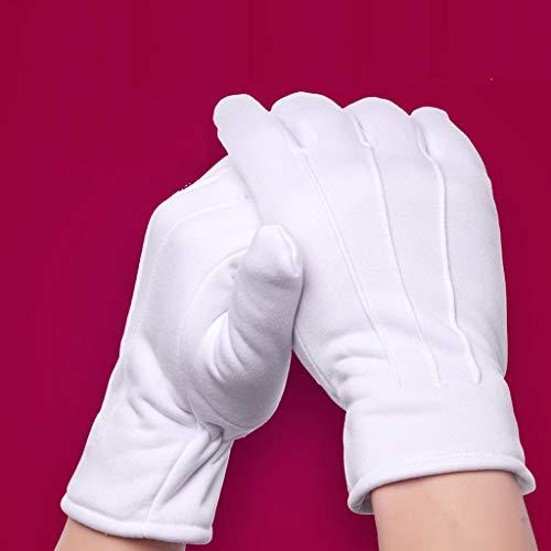 HYL0 Plus Baumwolle Handschuhe Etikette Leistung Weiße Handschuhe, Schutzarbeit Schutzhandschuhe, 5 Paare, L ZZBiao