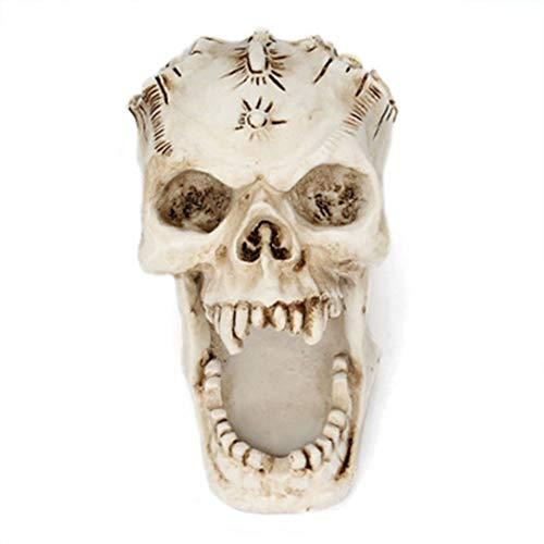 (Monllack Skull Head Ornament Skeleton Stationery Pen Holder Home Office Desktop Pencil Organizer Makeup Tools Storage Halloween Decor)
