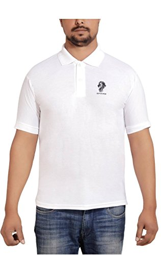 SPHINX Men's Rich Cotton Polo T shirt - White (XX-Large)