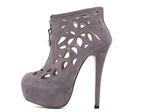 Rome été chaussures Baotou creux maille fermeture à glissière avant avec imperméable à l'eau haute fine avec des chaussures de trou de sandales sexy gray