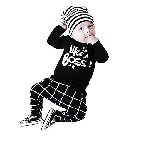 Famille Bébé Garçon Lettre Imprimé Manche Longue T-shirt Tops + Un Pantalon Ensemble (6-12Mois, Noir)
