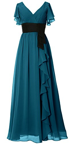 MACloth Women V Neck Short Sleeve Long Bridesmaid Dress Mother Formal Party Gown Teal