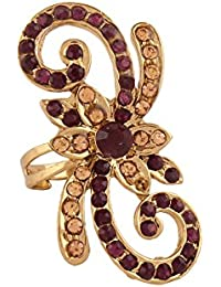 Variation Purple & gold Stone Studded Designer Ring For Women-VD10214 Free Size