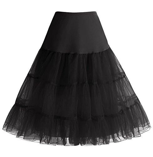 Homrain Vintage Rockability Femme Mini Jupe Mini Jupon Ballet Tutu en Tulle Rétro Multi-Couleurs, Noir S