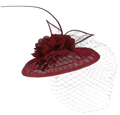 GEMVIE Damen Mini-Hut mit Federn Mesh Fascinator
