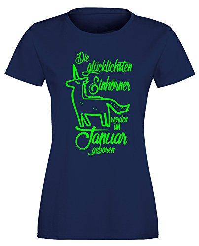 Die Glücklichsten Einhörner werden im Januar geboren! Perfektes Geschenk zum Geburtstag - Damen Rundhals T-Shirt Navy/Neongruen