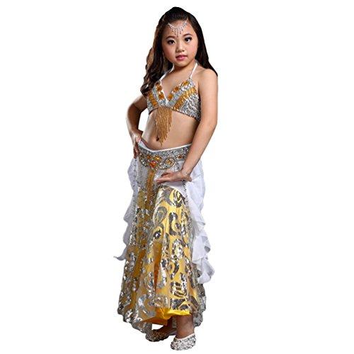 (Xinwcang Mädchen Bauchtanz Kostuem Kinder Tanzkleid Top+Rock Dance Kleidung Halloween Karneval Darbietungen Set Silber (3PC) One Size)