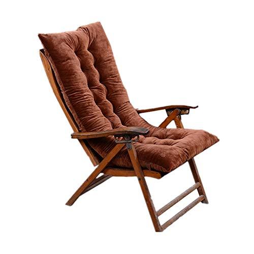 KKLTDI Plüsch Hochlehner Auflage Gartenstuhlauflagen Sitzauflagen, Drinnen Draußen Dick Sessel Sitzkissen Weich Garten Liegestuhl Sitzkissen-Dunkelbraun 120x50cm(47x20inch)