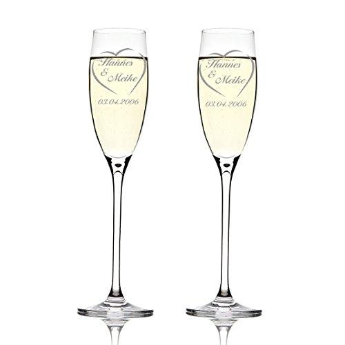 Deux flûtes LEONARDO Cheers Gravure motif : Nom Dans Cœur