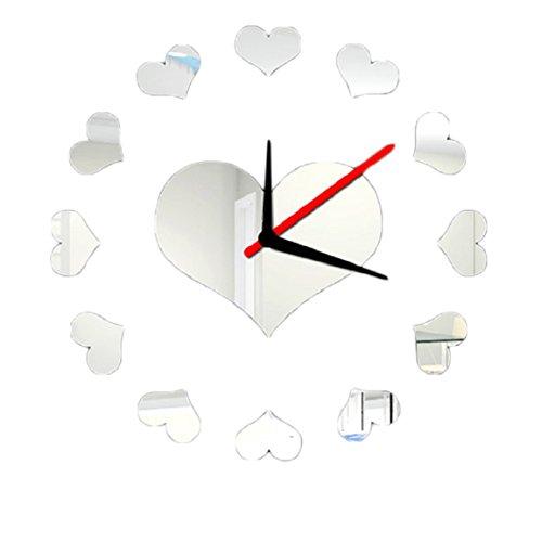 Culater® CorazóN Amoroso Pared Interior Bricolaje Reloj Autoadhesiva DecoracióN Creativa (Plata)