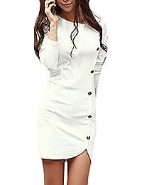 BoBoLily Frauen Freizeitkleid Blusenkleider Elegant Kurz Langarm Rundkragen  Kleider Mit Knöpfen Bleistiftkleid Eng… a12fee6860