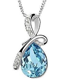 Klassik Silber Licht Meer Blau Edelstein Tropfenform Anhänger Charme Halskette