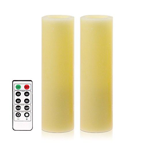 Led Velas velas sin llama con control remoto y temporizador, 2 x 6 pulgadas (5.1x15.2 cm), cera real, para las decoraciones de Navidad y la iluminación del partido
