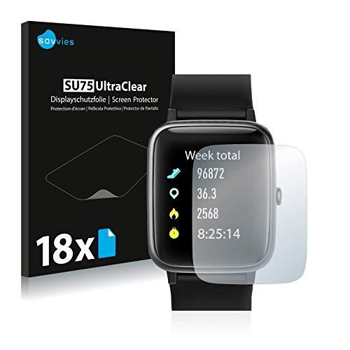 Savvies 18x Schutzfolie kompatibel mit Lintelek Fitness Tracker 205-L Displayschutz-Folie Ultra-transparent
