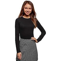 oodji Ultra Mujer Jersey Texturizado con Cuello Redondo, Negro, ES 34 / XXS