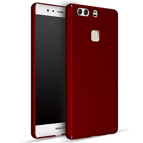 Apanphy Huawei P9 Plus Hülle , Hohe Qualität Ultra Slim Harte Seidig Und Shell Volle Schutz Hinten Haut Fühlen Schutzhülle für Huawei P9 Plus, Rot