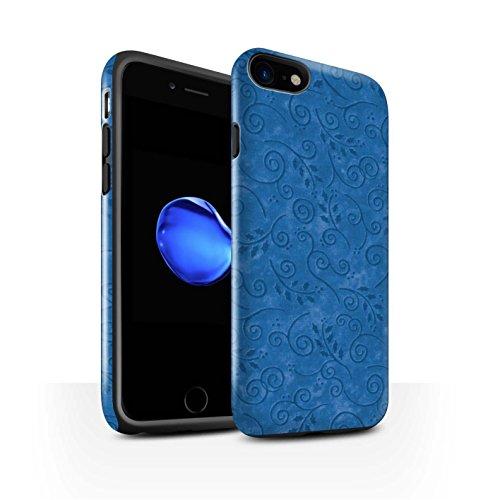 STUFF4 Glanz Harten Stoßfest Hülle / Case für Apple iPhone 8 / Gelb Muster / Blatt-Strudel-Muster Kollektion Blau