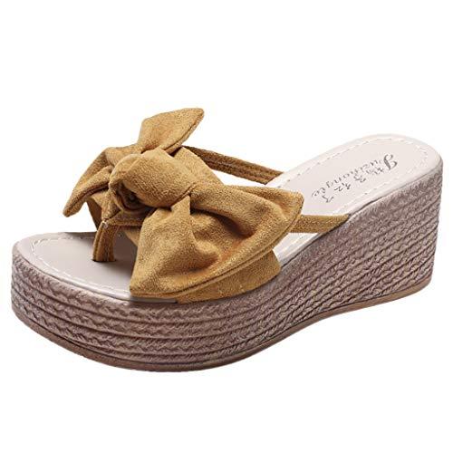 CUTUDE Damen Bequeme Plattform Sandal Sommer Wedges Open Toe Butterfly Knot Strand Schuhe Roman Slippers Sandalen Hausschuhe Strand Reise Schuhe (Gelb, 36 EU) Knit Knot Hat