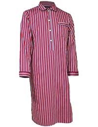 Lloyd Attree & Smith - Chemise de nuit homme - 100% coton - rayé bleu marine / rouge / blanc / or