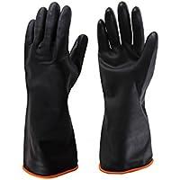 Guanti in lattice impermeabile Acido allungato e guanti alcalini protezione industriale e guanti di sicurezza protezione del lavoro antiscivolo nero ( dimensioni : L:55cm )