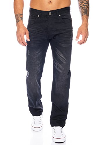 Rock Creek Herren Jeans Hose Denim Blau Straight-Cut Gerades LL-322 Schwarz W36 L30