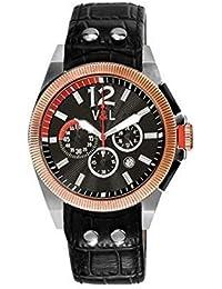 V&L Reloj analogico para Hombre de Cuarzo con Correa en Piel VL067701
