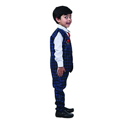 FOCIL Festival Season Special Blue Waistcoat Set with Shirt and Pant for Boys (5-6 Years)