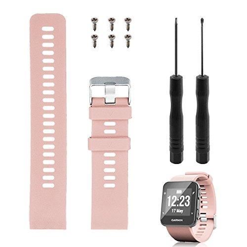 """Reemplazo de banda Rukoy para Garmin Forerunner 35, correa de reloj de repuesto de silicona suave para Garmin Forerunner 35 reloj inteligente, ajuste 5.56 """"-7.96"""" (139mm-199mm) muñeca (Rosa)"""