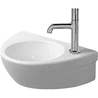 De la mano de lavabo Duravit Starck 2 380 mm, sin necesidad de Aliviadero, diseño de gallo de agujeros y a la derecha, de colour blanco Wondergliss con revestimiento de, 07613800081