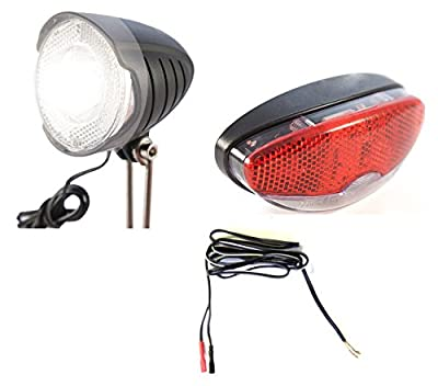 AWE® Bicycle Dynamo Front & Rear Light Set With FREE Twin Cable 2100mm by AWE®