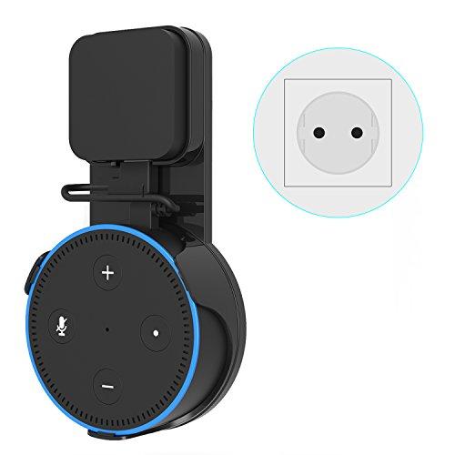 ieGeek Outlet Wandhalterung Halterung Ständer für Dot 2 Generation, Echo Dot Zubehör für Smart Home Lautsprecher keine Schrauben, Verwendung in Küchen, Wohnzimmer, Badezimmer und Schlafzimmer Schwarz