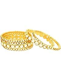 OranGey Fashion - Beautiful Bangle 1gm Gram Gold Plated Designer Kundan Bangles For Women & Girls (Set Of 6)