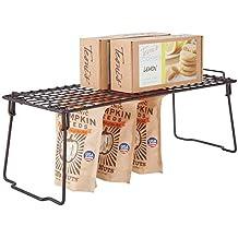 mDesign Estante apilable para almacenaje de cocina – Repisa metálica de  cocina con patas plegables – 14368d1b539f