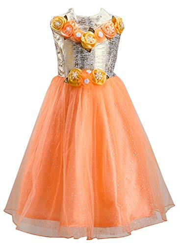 JBN Creation Girls Poly Cotton Gown Dress (Peach_VASGFL002PH_9-10 Years)
