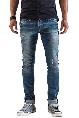 Meltin'Pot - Jeans MISFITS D1577-UB280 für mann, skinny stil, eng passend, niedriger bund - DENIM BLUE - 34 - Länge: 34 (Größe DE 43 - INT. XL)