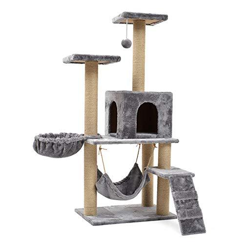 DuYanDY Albero di Gatto, sisal Comodo e spazioso Coperto da un'apposita Asta da graffio Amaca per Gatti, Dimensioni Grigie 60 * 40 * 140