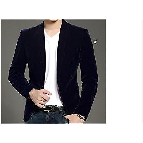 Toshi da Uomo Vintage in velluto sottile matrimonio da smoking Casual Blazer giacca