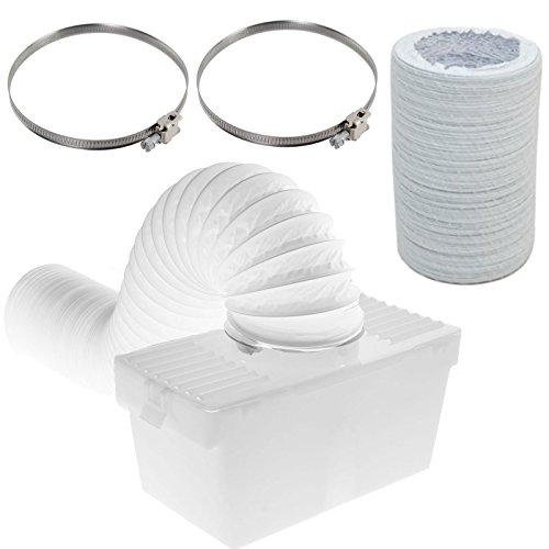 spares2go Kondensator Box & Extra Langen Schlauch Kit mit Jubilee Clips für LG Trockner (10,2cm/100mm Durchmesser) (Dampf Trockner Lg)