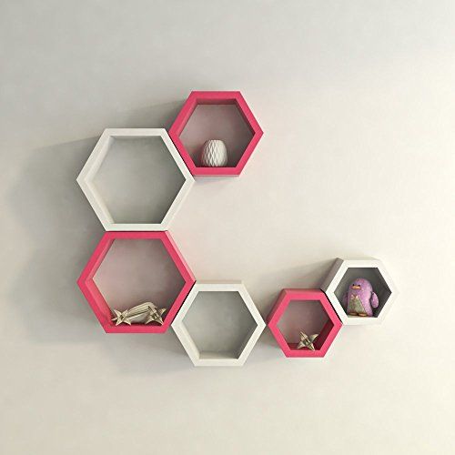 GrayWood Wall Shelf Rack Set Of 6 Hexagon Shape Storage Wall Shelves For Home | Pink & White  available at amazon for Rs.1899