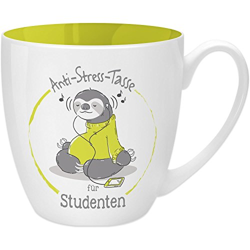 GRUSS & CO 45500 Anti-Stress Tasse für Studenten, 45 cl, Geschenk, New Bone China, Gelb, 9.5 cm
