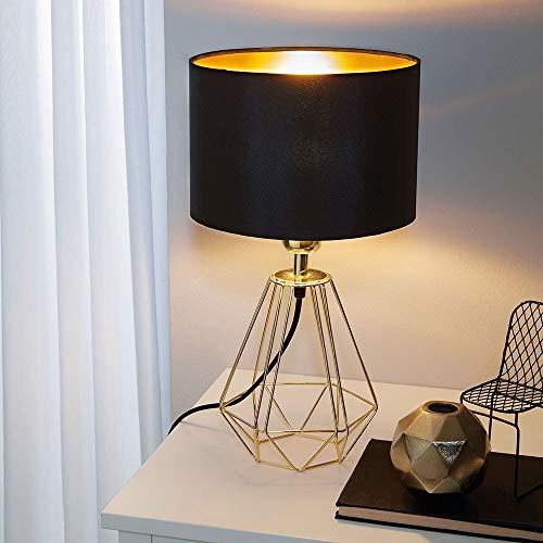 Eglo 95788 Lampe de table, Acier, E14, Messing, Schwarz, 16.5 x 16.5 x 30.5 cm