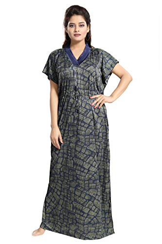 TUCUTE Women s Girls Checks Print Kaftan Style Nighty Night Gown Nightwear    Sleepwear. 7db4f67e5