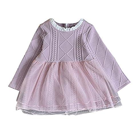 Longra Kinder Baby Mädchen Strick Pullover Kleid Winter Häkeln Tutu Kleid Tops Kleidung Herbst-Winter Langarm Mädchen Kleid(3-7Jahre) (120CM 6Jahre, Pink)