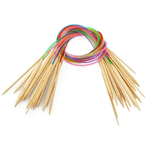 PIXNOR 18 paia 80cm maglia ferri a doppia punta con tubo circolare bambù uncinetti Kit 2.0 - 10.0mm
