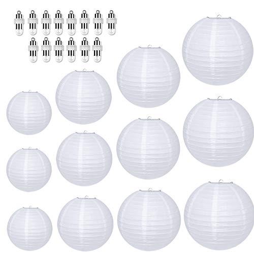 Vanble Schöne, weiße LED-Papier- Laternen/Lampions für die perfekte Hochzeits- und Sommerdekoration in 4 verschiedenen Größen in Einer 12 er Sparpackung