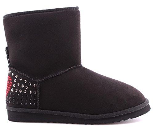 Scarpe Donna Ankle Boots LOVE MOSCHINO JT100A Ugg Camoscio Nero Black Nuove New