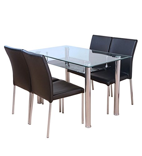 HomeTown Polo Four Seater Dining Table with Chairs (Black)