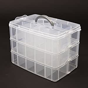 Kurtzy 3-Tray Transparent Plastic Organizer Storage Box/Basket/Container With Collapsible And Removable Dividers(31 X 19 X 24Cm)